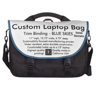 Custom Laptop Commuter Bag - BLUE SKIES Trim