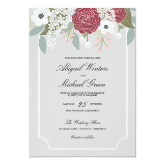 Custom Large Floral -Burgundy- Wedding Invitation