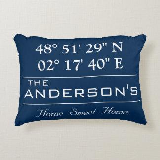 Custom Latitude Longitude Family Name Home Address Decorative Cushion