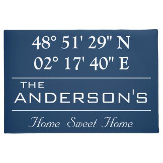 Custom Latitude Longitude Family Name Home Address Doormat