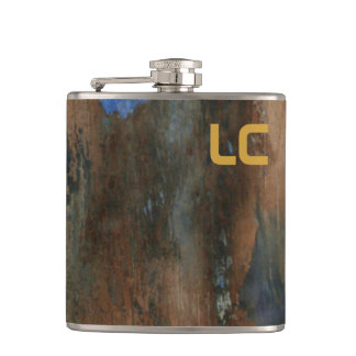 custom LC aged paint texture Hip Flask