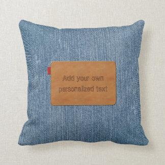 Custom Leather Tag Blue Jean Denim Cushion