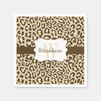 Custom Leopard Brown Tan Peach Cocktail Napkin Disposable Serviettes