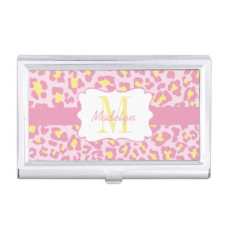 Custom Leopard Pink and Yellow Card Case Business Card Case