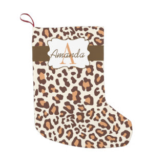 Custom Leopard Print Brown Tan Cream Stocking