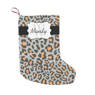 Custom Leopard Print Orange Black Gray Stocking
