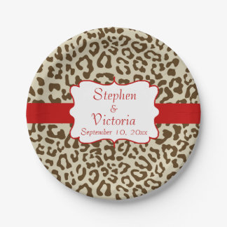 Custom Leopard Print Tan and Red Paper Plates