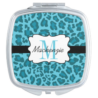 Custom Leopard Shades of Blue Compact Mirror