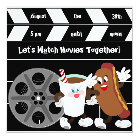 Custom Let's Watch Movies Birthday Invitations