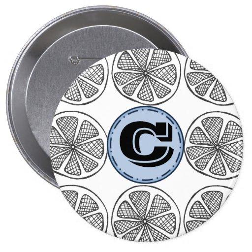 Custom Letter Citrus Slice Button