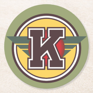"Custom Letter ""K"" Initial Round Paper Coaster"