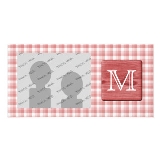 Custom Letter. Picture of Wood and Check Pattern. Personalized Photo Card