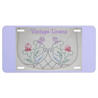 Custom License Plate with Vintage Dresser Scarf License Plate