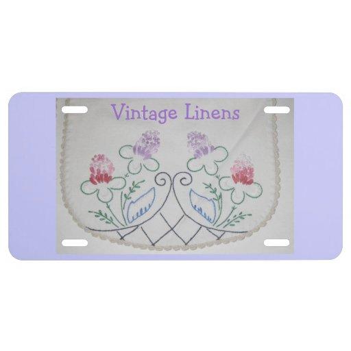 Custom License Plate with Vintage Dresser Scarf License Plate