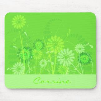 Custom Lime Green Floral Mousepad