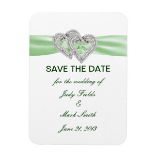 Custom Lime Hearts Save The Date Magnet