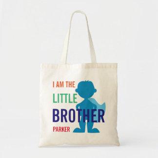 Custom little brother superhero silhouette boys tote bag