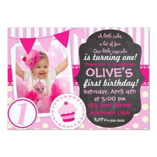 Custom Little cupcake 1st Birthday invitation