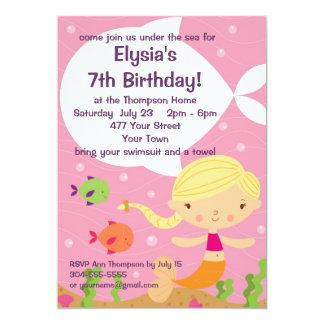 Custom Little Girls Mermaid Birthday Party Custom Announcements