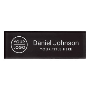 Custom logo black professional magnetic name tags