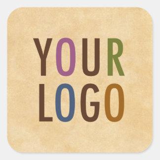 Custom Logo Branded Antique Vintage Style Square Sticker