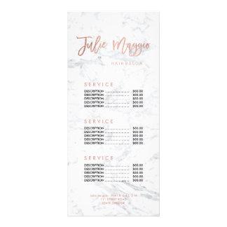 Custom logo hair faux gold marble price list custom rack card