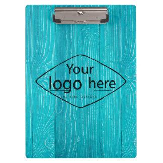 custom logo on aqua blue woodgrain clipboard