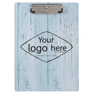 custom logo on blue weathered wood boards clipboard