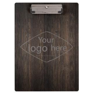 custom logo on classic dark woodgrain clipboard