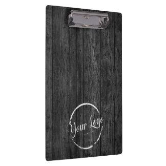 Custom logo on dark woodgrain clipboard