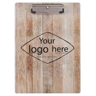 custom logo on light woodgrain clipboard