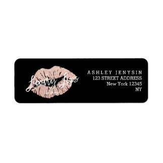 Custom Logo rose gold glitter lips typography Return Address Label
