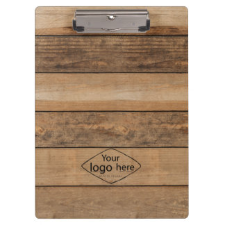 custom logo wooden planks clipboard