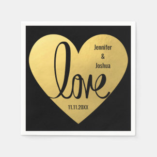 Custom LOVE Black Gold Wedding Reception Cocktail Disposable Napkin