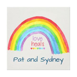 Custom LOVE HEALS Rainbow Pride Canvas Print