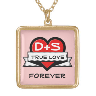 Custom Love Initials Heart With Ribbon V3 Square Pendant Necklace