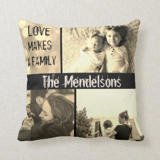 Custom love makes a family photo collage cushion