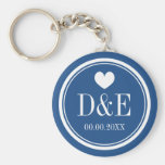 Custom love monogram wedding party favour basic round button key ring