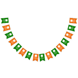 Custom lucky 4 leaf clover St Patricks Day party Bunting