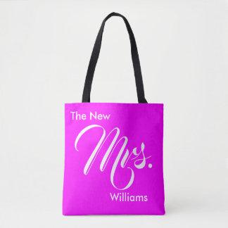 Custom Magenta The New Mrs. Tote Bag for Newlywed