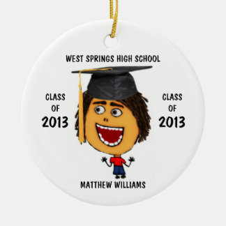 Custom Male Graduate Cartoon Ornament