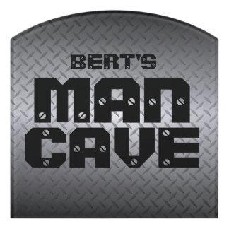 Custom Man Cave Door Sign with Diamondplate Look