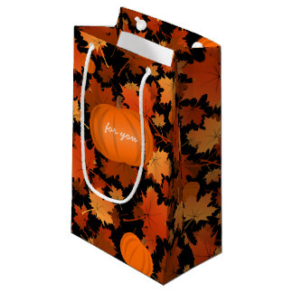 custom maple leaves and pumpkins pattern fall small gift bag