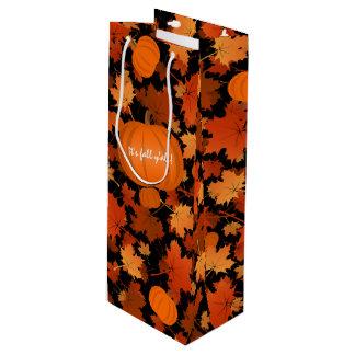 custom maple leaves and pumpkins pattern fall wine gift bag