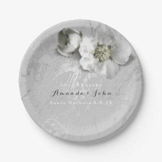 Custom Marble Real Flower Gray Silver Metallic Paper Plate
