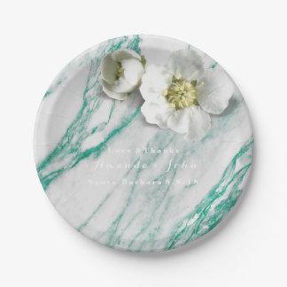 Custom Marble Tiffany Mint White Jasmine Glitter Paper Plate