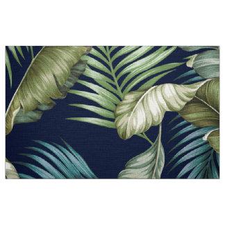 CUSTOM Marilyn Hawaiian Leaves Green Teal Navy Fabric