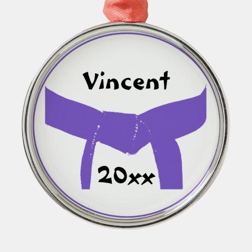 Custom Martial Arts Purple Belt Round Ornament