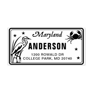 Custom Maryland License Plate Return Address Stamp