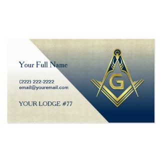 Custom Masonic Business Card Template, Navy & Gold